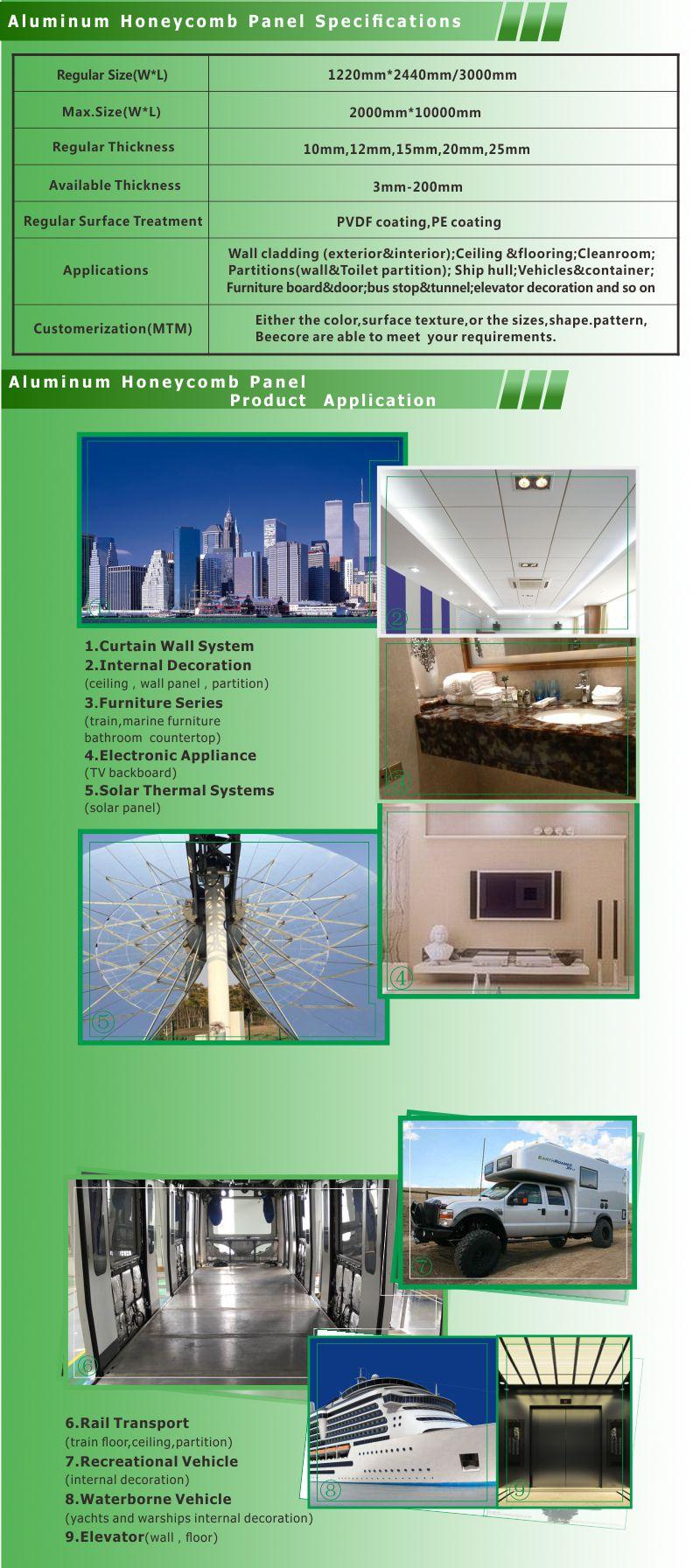 规格及应用 铝蜂窝板